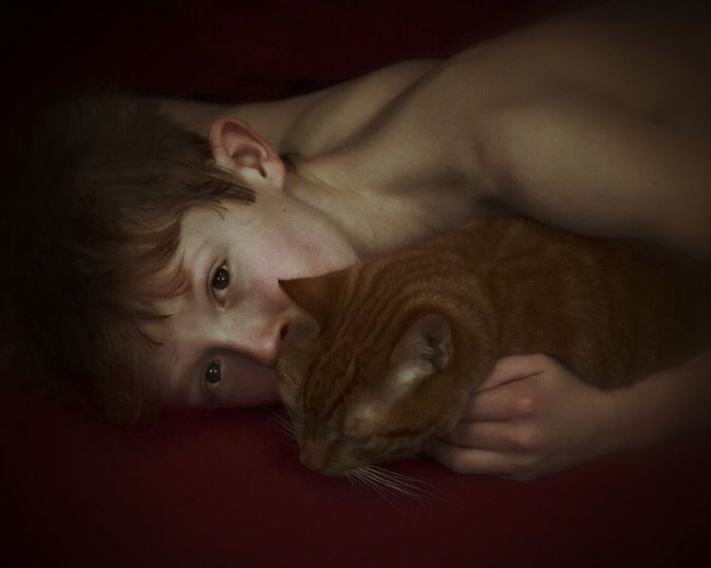 Portrait Of Shirtless Boy Embracing Cat