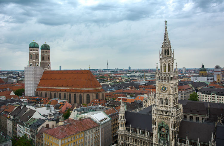 View over München Aerial View Alter Peter Architecture Bayern Capital Cathedral Church Deutschland Europe Frauenkirche Germany History International Landmark Munich München Perspective Rathaus Religion Top Perspective Tower Town Hall