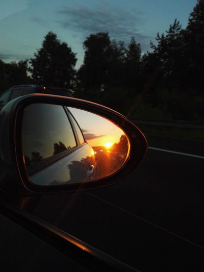 Car Sunset Mirror Road Trip Vehicle Mirror No People Driving Sky Night