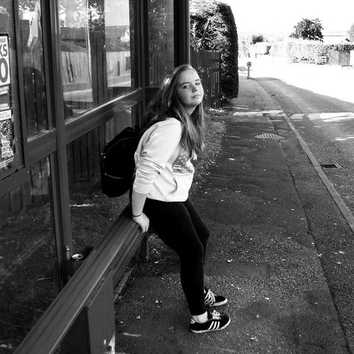 """""""bus stop"""" Black Color Studio Shot Standing Film Industry Photography White Background Blackandwhiteworld Camera - Photographic Equipment Photography Themes People Real People Day One Person Girlfriend Woman Portrait Backgrounds Abstract Photography"""