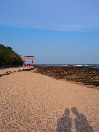 Beach Sand Sea Vacations Sky Water Shadow Blue Tranquility Two People Nature Outdoors Scenics Miyazaki, Japan Miyazaki Japan Aoshima Beach Shrine