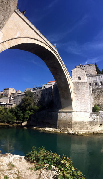 EyeEmNewHere Low Angle View Mostar Mostar Bosnia Mostar Bridge Mostar ♥ Old Town Panoramic Vacations Arch Architecture Blue Sky Bridge Bridge - Man Made Structure Built Structure History IPhoneography Jumper Mobilephotography Mostar Jumper Neretva Neretva River Outdoors River Travel Destinations Be. Ready.