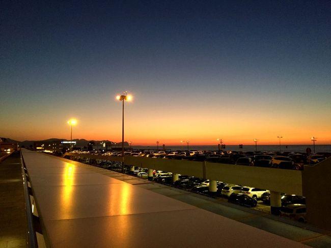 Evening🌅 Parking Sunset Sicily Airport Sky Water Transportation Illuminated Sunset Nature Mode Of Transportation Sea Night Street Light Lighting Equipment