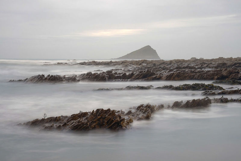 The Great Mewstone, Wembley Beach Great Mewstone Wembury Devon South Hams City Pyramid Sunset History Cold Temperature Sea Mountain Sky Landscape Cloud - Sky Horizon Over Water Triangle Shape Weather