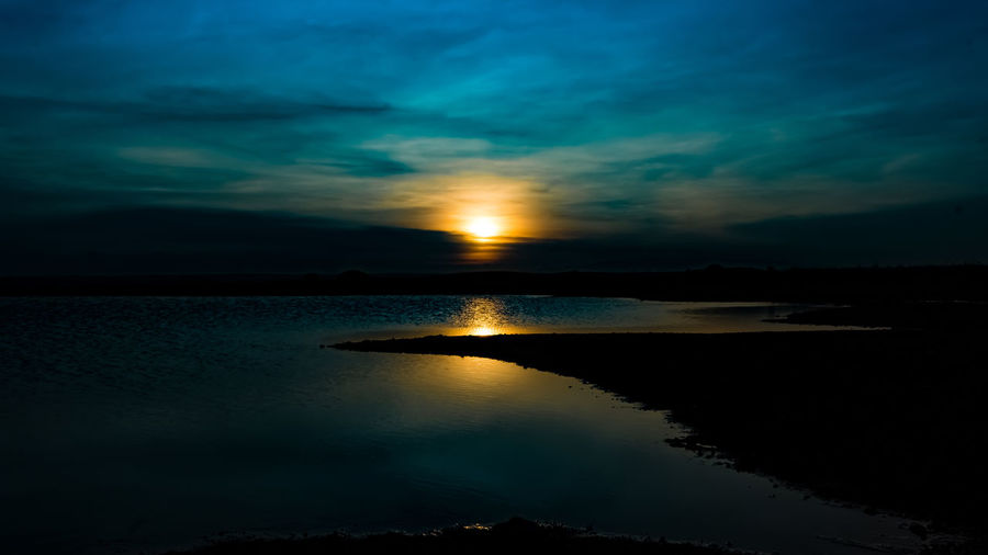 Beach Beauty In Nature Blue Cloud - Sky Day Nature No People Outdoors Reflection Scenics Sea Silhouette Sky Sunset Tranquil Scene Tranquility Water