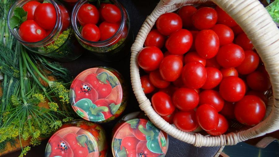 Directly Above Shot Of Jarred Tomatos
