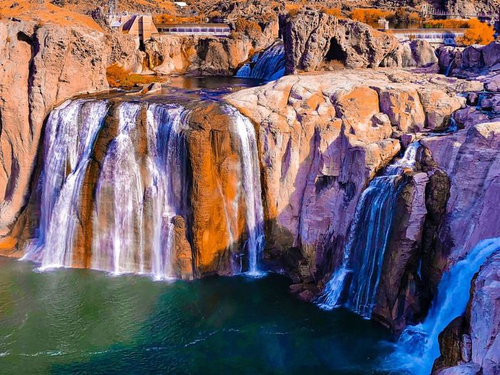Shoshone Falls, Idaho Water No People Nature Beauty In Nature Rock Rock - Object Cave Solid Pattern Scenics - Nature Outdoors Non-urban Scene Day Rock Formation Environment Travel Destinations Geology