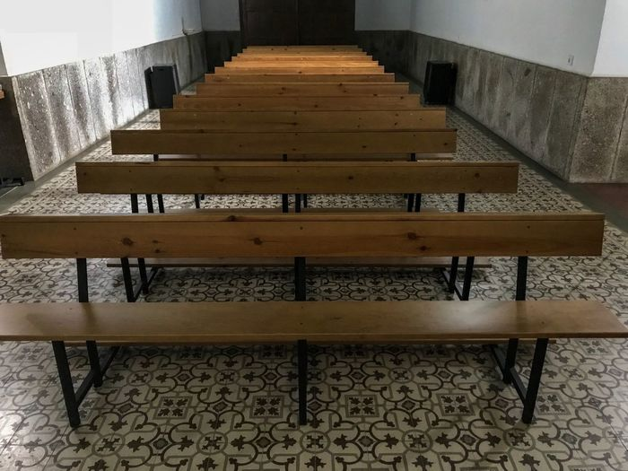 Meditation Mass Prayer Symbolism EyeEmNewHere EyeEm Best Shots Holy Place Holy Saint Cross Build Spirituality Religious  Religion Heritage Building Heritage Church Architecture Built Structure No People Indoors  Pattern Seat Wall - Building Feature Wood - Material Empty Building Bench Flooring Absence