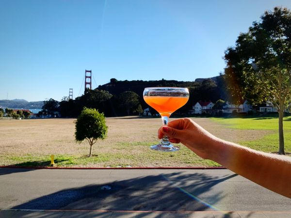 Cocktail with a view // Paper Plane Cocktail // Marin headlands // California Sky Plant Refreshment One Person Tree Nature Human Hand Alcohol Glass Outdoors Clear Sky Leisure Activity Day Drink Hand
