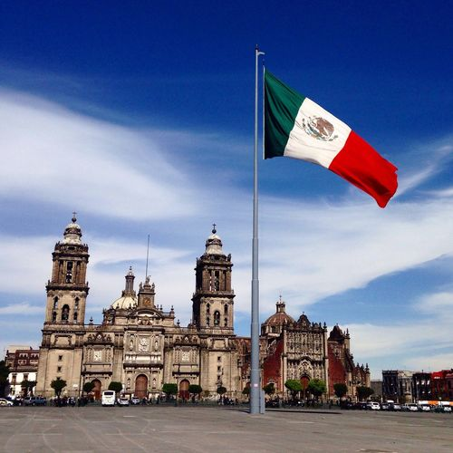 Mexican flag waving at zocalo