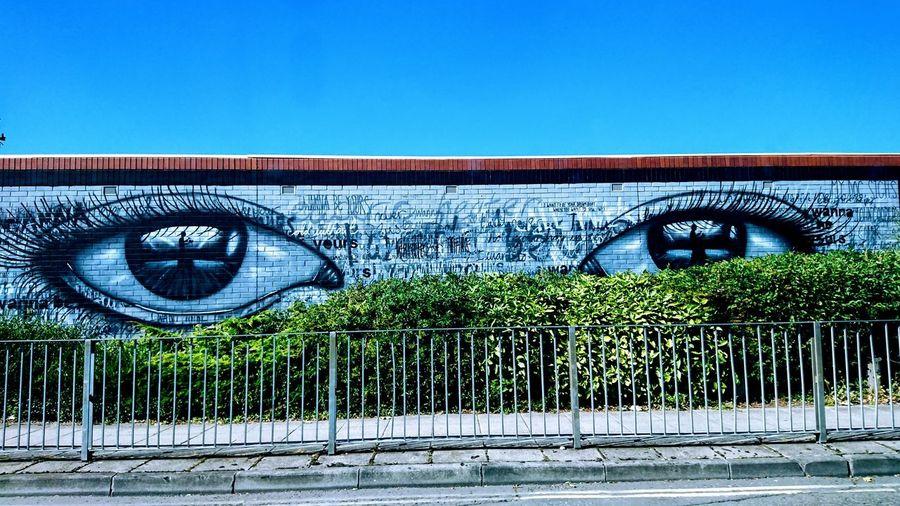 Street art Streetphotography Street Art City View  From Car Window Eyes Watching Art Beauty In Ordinary Things Road Railings Mural The Street Photographer - 2018 EyeEm Awards #urbanana: The Urban Playground