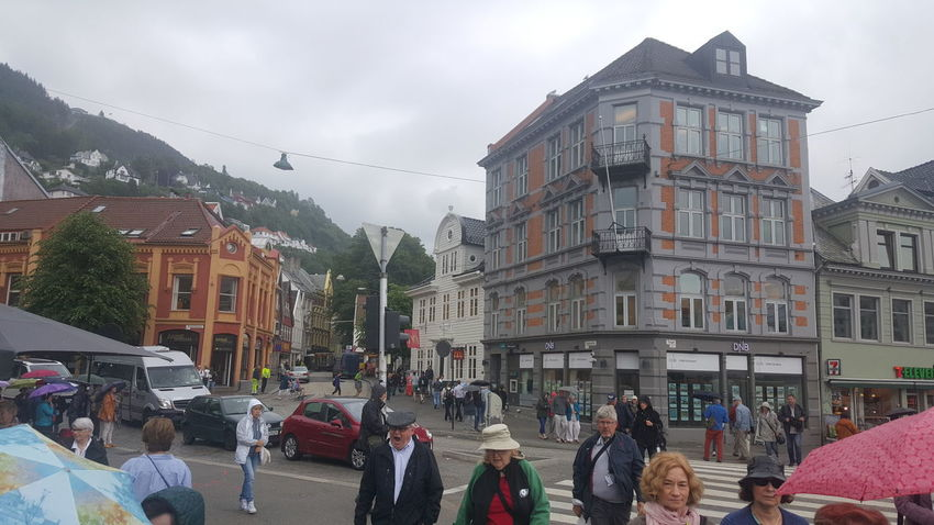 "Bergen (Norwegian pronunciation: [ˈbærɡən] ( listen), historically Bjørgvin, is a city and municipality in Hordaland on the west coast of Norway. At the end of the first quarter of 2016, the municipality's population was 278,121, and the urban population was 250,420 as of 1 January 2015, making Bergen the second-largest city in Norway. The municipality covers an area of 465 square kilometres (180 sq mi) and is located on the peninsula of Bergenshalvøyen. The city centre and northern neighbourhoods are located on Byfjorden, ""the city fjord"", and the city is surrounded by mountains; Bergen is known as the city of seven mountains. Many of the extra-municipal suburbs are located on islands. Bergen is the administrative centre of Hordaland and consists of eight boroughs—Arna, Bergenhus, Fana, Fyllingsdalen, Laksevåg, Ytrebygda, Årstad and Åsane. Trading in Bergen may have started as early as the 1020s. According to tradition, the city was founded in 1070 by king Olav Kyrre; its name was Bjørgvin, ""the green meadow among the mountains"". It served as Norway's capital in the 13th century, and from the end of the 13th century became a bureau city of the Hanseatic League. Until 1789, Bergen enjoyed exclusive rights to mediate trade between Northern Norway and abroad and it was the largest city in Norway until the 1830s when it was surpassed by the capital, Oslo. What remains of the quays, Bryggen, is a World Heritage Site. The city was hit by numerous fires over the years. The ""Bergen School of Meteorology"" was developed at the Geophysical Institute beginning in 1917, the Norwegian School of Economics was founded in 1936, and the University of Bergen in 1946. From 1831 to 1972, Bergen was its own county. In 1972 the municipality absorbed four surrounding municipalities, and at the same time became a part of Hordaland county. The city is an international centre for aquaculture, shipping, offshore petroleum industry and subsea technology, and a national centre for higher education, media, tourism and finance. Bergen Port is Norway's busiest in both freight and passengers with over 300 cruise ship calls a year bringing nearly a half a million passengers to Bergen, a number that has doubled in ten years. Almost half of the passengers are German or British. The city's main football team is SK Brann and the city's unique tradition is the buekorps. Natives speak the distinct Bergensk dialect. The city features Bergen Airport, Flesland, Bergen Light Rail, and is the terminus of the Bergen Line. Four large bridges connect Bergen to its suburban municipalities. Bergen is well known for having the mildest winter climate, though with a lot of precipitation, of all cities in the Nordic countries. In December - March, the temperature difference between Bergen and Oslo can be up to 30 degrees Celsius, despite the fact that both cities are located at approximately 60 degrees North. The Gulf Stream keeps the sea relatively warm, considering the latitude, and the mountains protect the city from cold winds from the north, north-east and east. Architectural Detail Architectural Feature Architecture Architecture Photography Architecture_bw Architecture_collection Architecturelovers Architecturephotography Architectureporn EyeEm Best Shots Getting Inspired Hidden Gems  Home House Houses Romantic Scandinavia Scandinavian The Purist (no Edit, No Filter) Wood Wood - Material Wood House Wooden Wooden Building Wooden House"