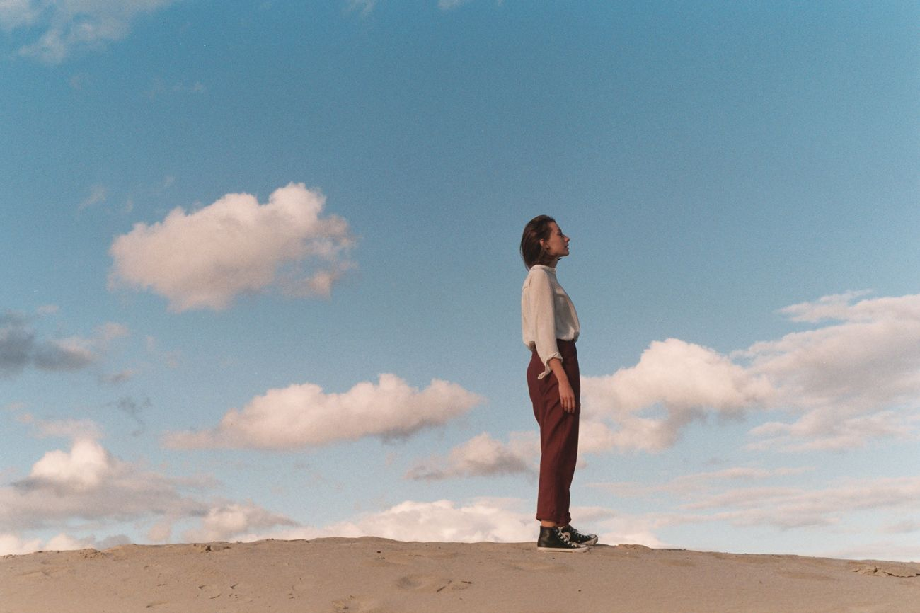 one person, sky, cloud - sky, full length, land