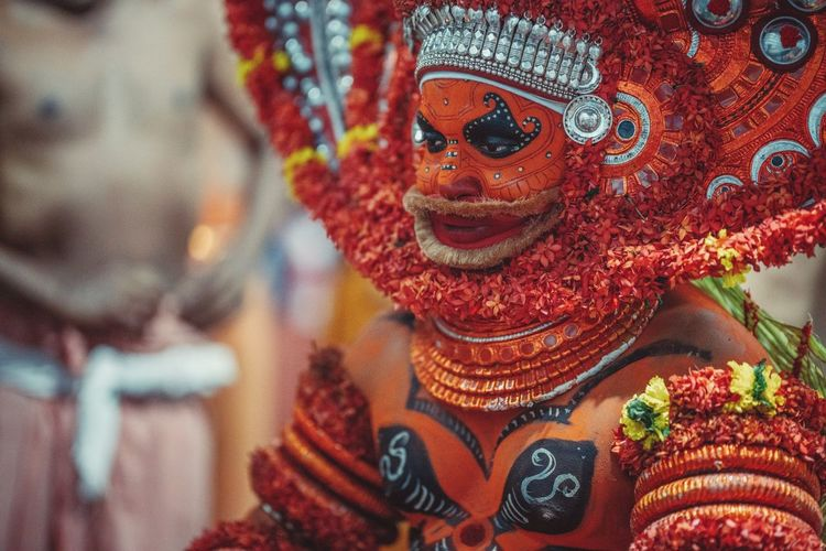 Theyyam of Kannur / Kerala, India Indian Culture  Travel India ASIA EyeEm Best Shots Travel Photography Travelphotography Travel Destinations Travelling EyeEm Selects Theyyam Close-up Pattern Focus On Foreground Multi Colored Textile Clothing No People Celebration Creativity Art And Craft Indoors  Decoration Design Day Jewelry For Sale Traditional Clothing Embroidery Floral Pattern