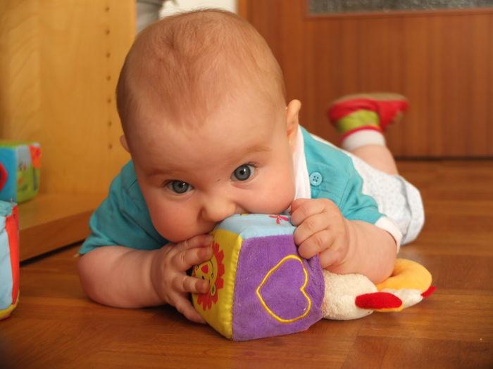 Portrait of cute baby girl lying on hardwood floor at home