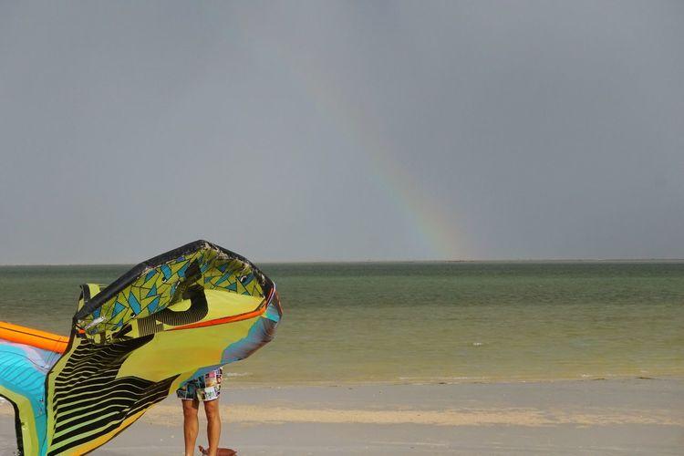 Man holding kite on beach against sky