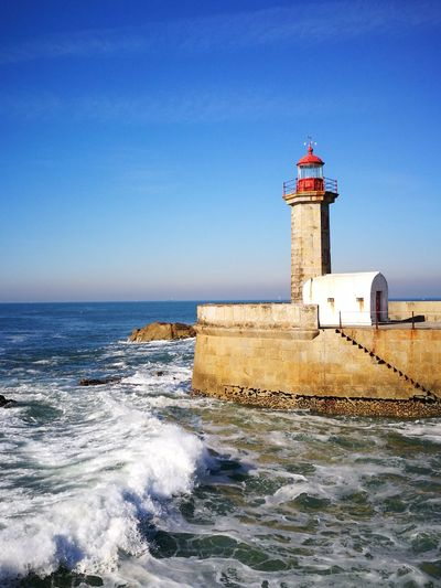 Water Wave Sea Lighthouse Clear Sky Beach Protection Safety Guidance Tower