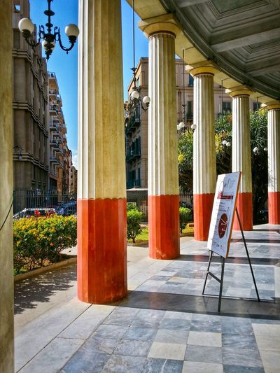 Teatro Politeama Palermo Sicily Italy Travel Photography Travel Voyage Traveling Mobile Photography Fine Art Neoclassical Architecture Historical Monuments Arcades Painted Columns Shadows Mobile Editing