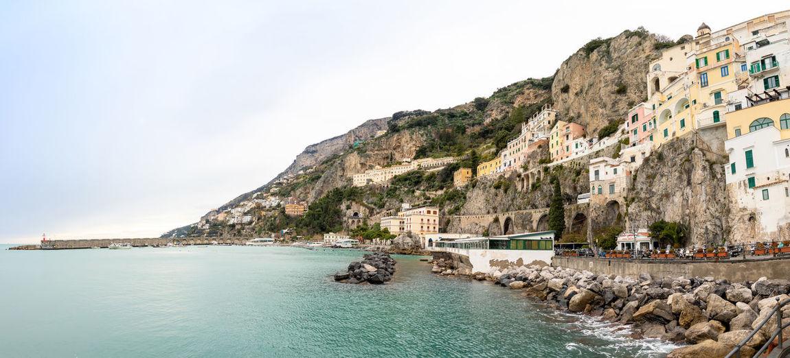 Italy Amalfi  Amalfi Coast Panorama Sea Coastline Beach Architecture