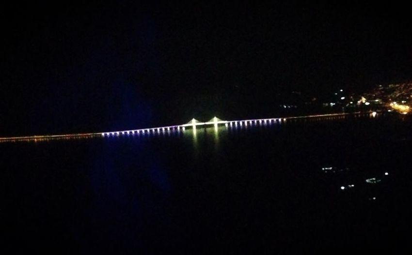 Jambatan pulau pinang birdeye view at night Hello World Penang Penang Bridge