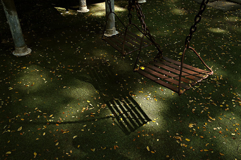 High angle view of swing in park