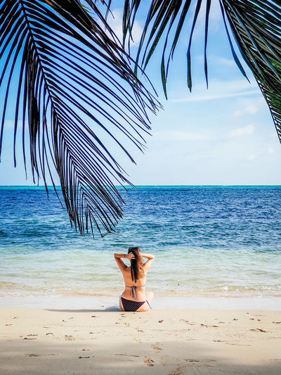 Woman from behind on sandy beach. one person, tropical, sea, beach.