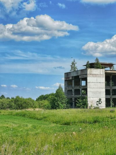 Lithuania Kaunas Urbex Oldbuilding Decay Archtecture Composition Contrast Explore Exteriordesign Discover  Light And Shadow Abandoned Ruins Factory Rural Scene Sky Grass Building Exterior Architecture Cloud - Sky Green Color Built Structure