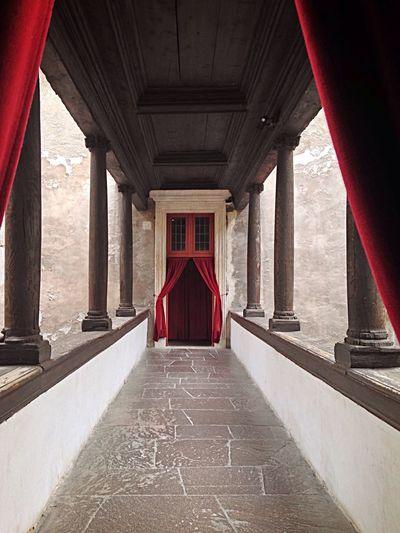 Architecture Built Structure Red Architectural Column Indoors  Entrance Door Castle Castel Del Buonconsiglio Trento Trient Trentino Alto Adige Trentino  Italy Curtains