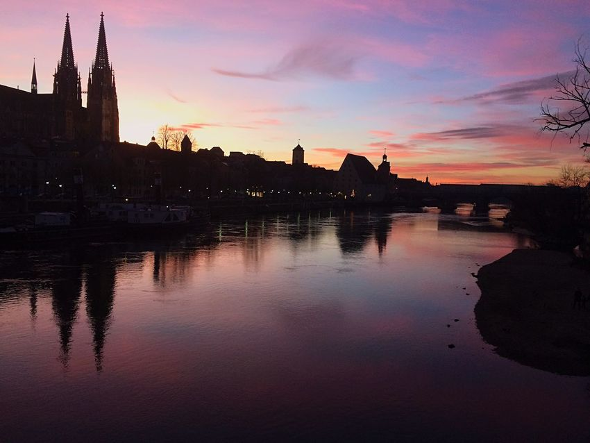 Danubio EyeEmNewHere Beauty Travel Colours Regensburg Danubio Germany Architecture Reflection Sunset Water Built Structure Building Exterior Sky River