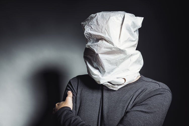 man with plastic bag on the head Anonymous Business Caucasus Man Plastic Bag Shadows & Lights Ugly Acne Advertisement Bag Cold Communication Concept Design Hidding Human Lovesickness Male Mentally Ill Metoo Mobbing Victim Real People Scared Scary Smother