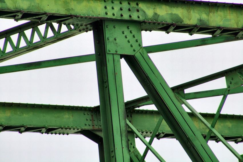 Architecture Bridge Bridge - Man Made Structure Built Structure Clear Sky Close-up Connection Day Girder Green Color Low Angle View Metal Nature No People Outdoors Sky Transportation