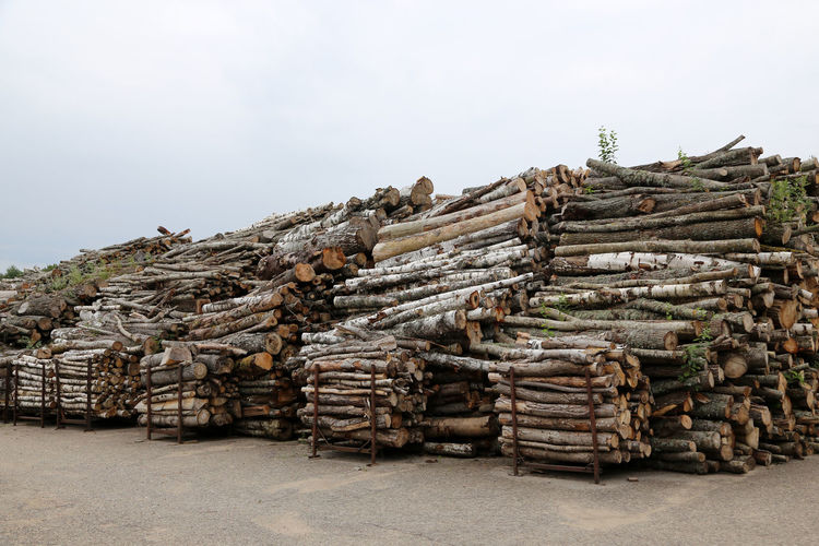 Birch wood lumber in big heaps ready to be burned at heating station in Latvia Abundance Day Deforestation Environmental Issues Forestry Industry Heap Industry Large Group Of Objects Log Lumber Industry Nature No People Outdoors Pile Sky Stack Timber Wood - Material Woodpile Heating Station Heating Plant Heating Period