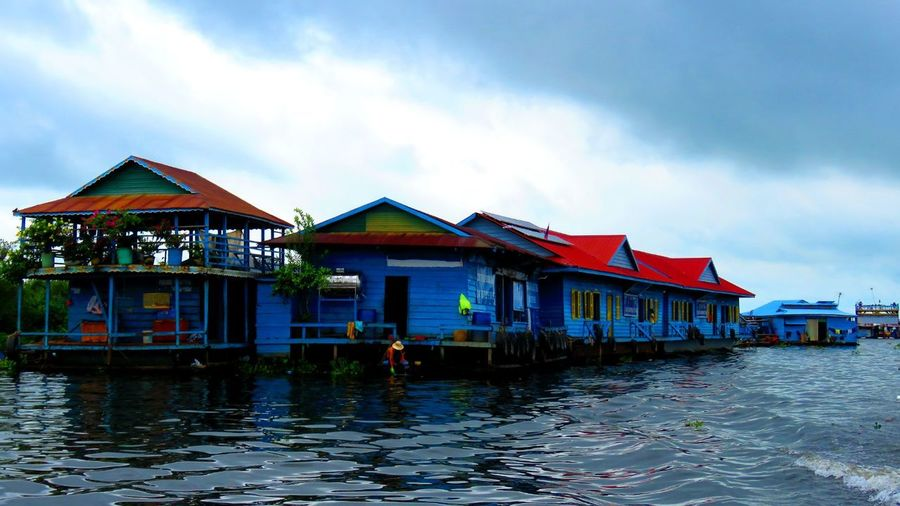 Rio Mekong River View Ancient Architecture Water Architecture Stilt House Tradition Multi Colored House Outdoors Floating On Water Nautical Vessel No People
