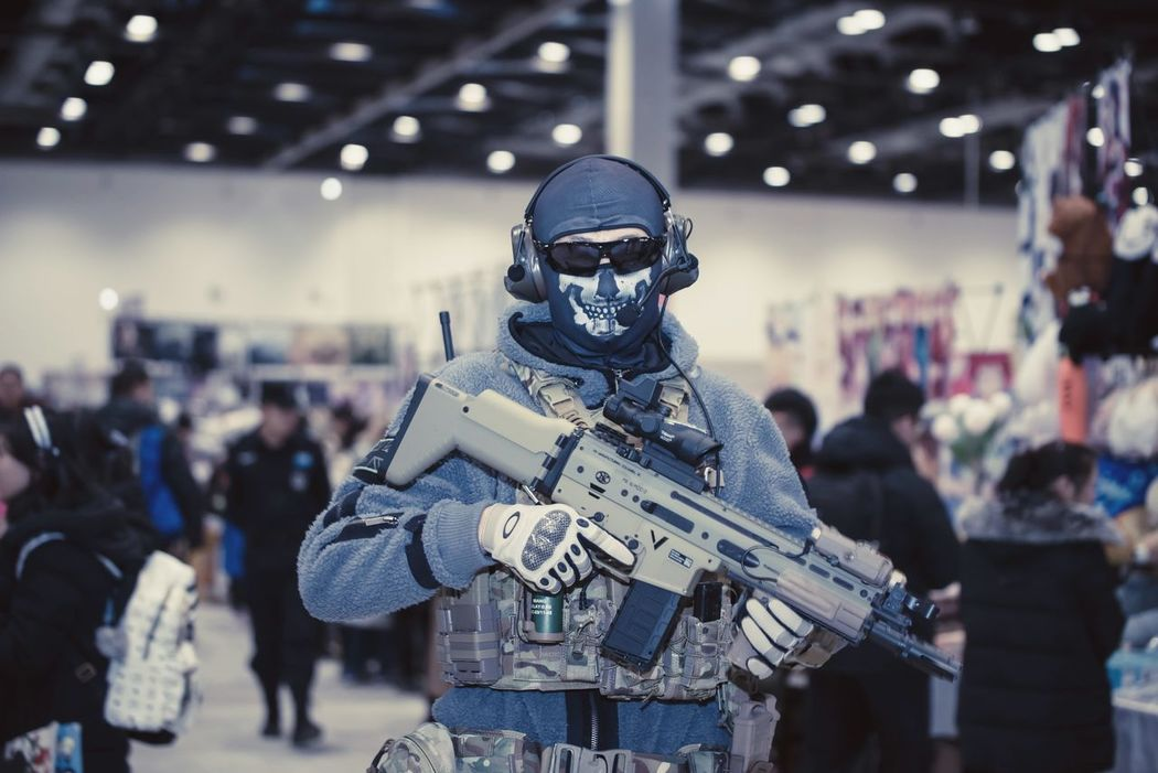 Task Force 141- Ghost Call Of Duty Ghost Focus On Foreground Human Representation Gun Indoors  Military Weapon Arts Culture And Entertainment People Army Soldier