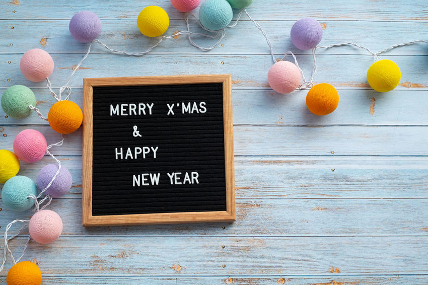 Text Wood - Material Western Script Board Communication Indoors  No People Still Life Message Merry Christmas! Christmas New Year Greeting Words Celebration Decoration Flat Lay Top View Alphabet Script Happy December Copy Space Light Bulbs Joy