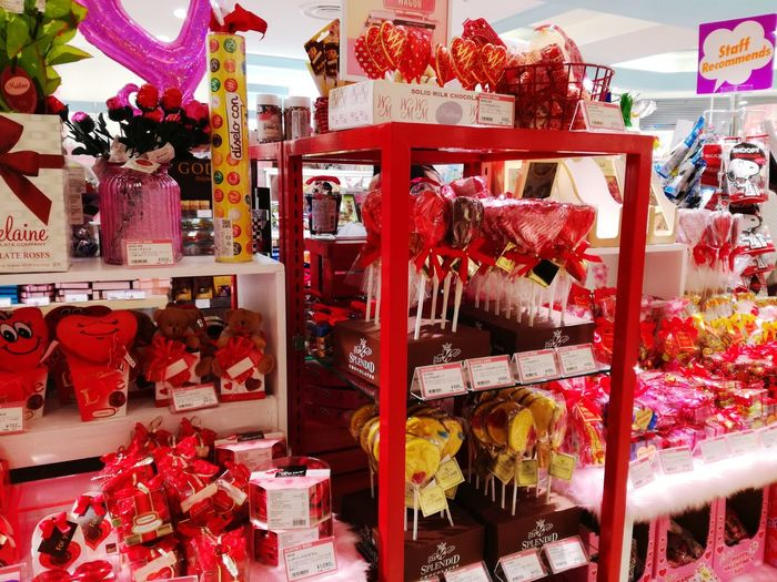 Chocolate Winter Valentine's Day  Retail  For Sale Store Abundance Choice Business Finance And Industry Consumerism Market No People Red Supermarket Shades Of Winter