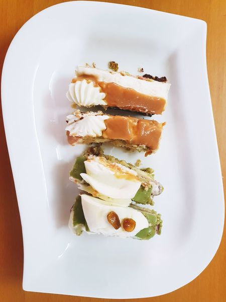 Cake! Pistachio Cake Dulce De Leche EyeEm Selects Dessert Plate High Angle View White Background Close-up Sweet Food Food And Drink Slice Of Cake Cake Pastry