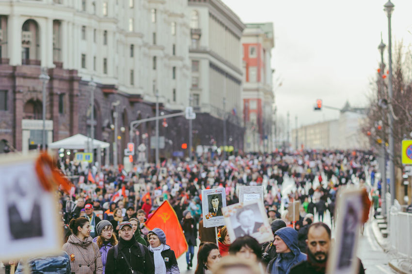 Victory day in Moscow, May 9, 2017 Adult Architecture Building Exterior City Crowd Day Large Group Of People Lifestyles Outdoors Parade People Protestor Real People Togetherness Unity Victory Day Women The Street Photographer - 2017 EyeEm Awards