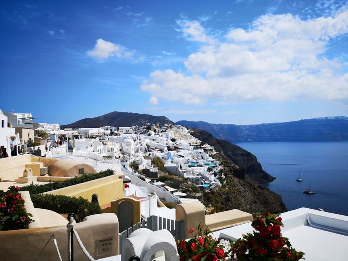 High angle view of buildings in city santorini