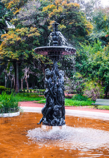 A water fountain in a park. Architecture Art And Craft Day Flowing Water Fountain Human Representation Motion Nature No People Outdoors Park Plant Pond Representation Sculpture Splashing Statue Stream - Flowing Water Tree Water