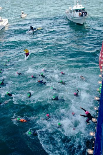 A wild start to the 2018 Escape from Alcatraz triathlon. All the amazing organization can't quell the feeling of unleashed chaos as 2000 people jump off the ferry and into the San Francisco Bay in under 10 minutes. Real People Waves Triathleteshop TRIATHLON Jumping Nautical Vessel Water Transportation Mode Of Transportation Sea Day Nature High Angle View Waterfront Large Group Of People Group Of People Floating On Water