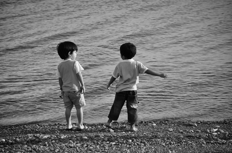 Rear view of boys playing in water
