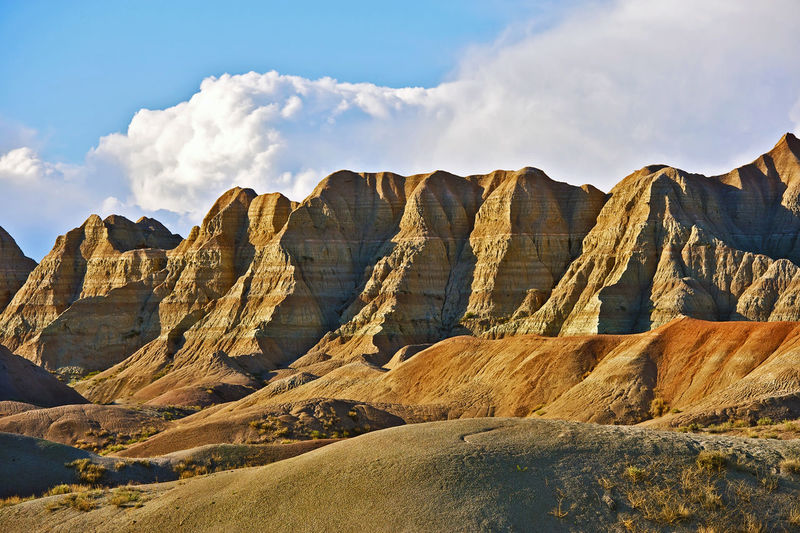 Badlands, South Dakota, USA. Badlands Landscape in HDR Photography Badlands National Park Badlands Sandy South Dakota Rock Sky Scenics - Nature Cloud - Sky Rock - Object Mountain Rock Formation Tranquil Scene Beauty In Nature Non-urban Scene Solid Tranquility Geology Landscape Physical Geography Mountain Range Travel Destinations Nature Environment Formation No People Climate Outdoors Arid Climate Eroded