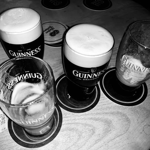 AUF EIN ZWEI...GUINESS. Blackandwhite Photography Blackandwhite Photography Photooftheday Photographer Check This Out EyeEm Best Shots EyeEmBestPics EyeEm Selects EyeEm Best Edits EyeEm Gallery Capture Check This Out Drink Refreshment Still Life Alcohol Beer Food And Drink Indoors  Table Beer - Alcohol Glass Beer Glass Drinking Glass No People Close-up Group Of Objects Freshness Glass - Material