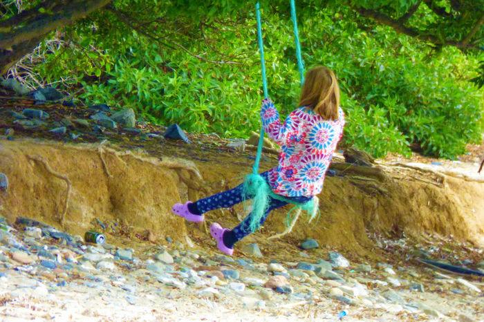 Day Girl Swinging Nature Outdoors Swing Tree