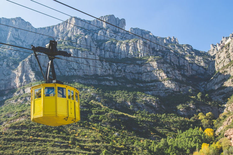 Yellow Cable Car in Monserrat Blue Sky Cable Car Idyllic Landscape Mountains Nature Rock Formation Summer Sun Trees Yellow
