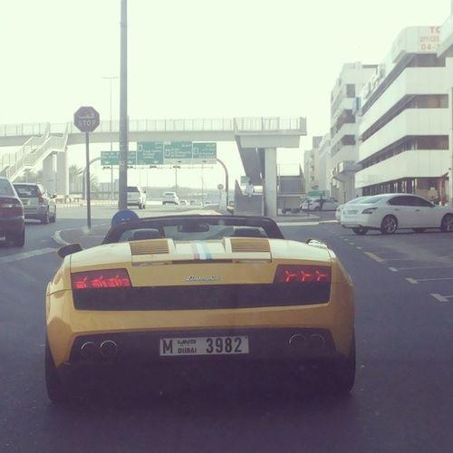 Omw home after tutions Saw Yellow Lamborgini  Gallardo with italia colour stripes like 2014 dubai karama