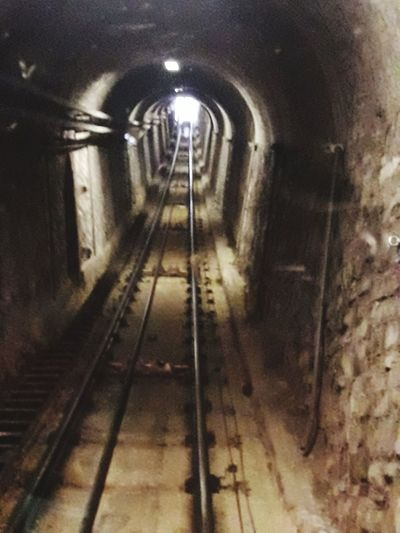 Eye4photography  EyeEm Gallery Funicolare Funicular Railway Illuminated Tunnel