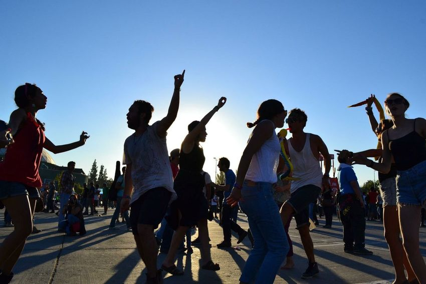 Shot 2: One of my favourite pics i've taken. This was at Lollapalooza Chile, 2012. A group of canadian friends celebrates the joy of being part of the festival. Chile Lollapalooza 2012 Concert Festival Music Rock Joy Happiness People Dancing Tribal