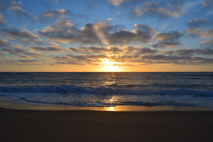 Beach Sea Sunset Sand Horizon Over Water Sky Cloud - Sky Sun Nature Water Seascape Reflection Dramatic Sky Beauty In Nature Scenics Landscape Travel Destinations Summer Vacations Tourism Sintra Portugal Praia Da Adraga Adraga Beach Adraga